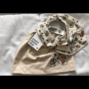 NWT H&M Chip & Dale Beanie and Bib Size US 1-2Y